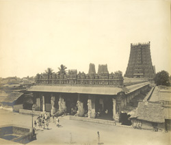 General view of Pudumandapam from the north-east, near Minakshi Amman Temple [Minakshi Sundareshvara Temple], Madura